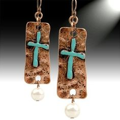 Copper Teal Cross Earrings by shawna