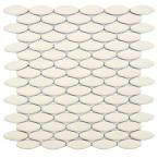 Cosmo Ellipse Matte Almond 10-1/4 in. x 12 in. Porcelain Mosaic Floor and Wall Tile-DISCONTINUED
