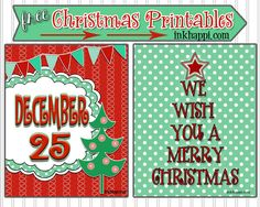 Some cute free Christmas printables that are great for decorating with. Get them at inkhappi.com!