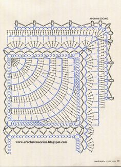 crochet afghan squares and finished edging chart Motifs Granny Square, Granny Square Crochet Pattern, Crochet Diagram, Crochet Chart, Crochet Squares, Crochet Doilies, Crochet Afghans, Crochet Granny, Crochet Bedspread Pattern