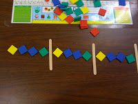 Craft sticks to separate each pattern unit. She has students create one unit, rotate to finish another persons, rotate a third time. Make a new pattern. Patterning Kindergarten, Preschool Math, Math Classroom, Kindergarten Math, Teaching Math, Math Math, Maths, Classroom Ideas, Teaching Patterns