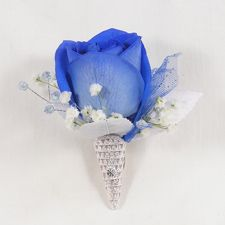 images of boutineers with blue flowers | WW-403 Blue Rose Boutonniere