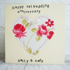Personalised Pink Floral Heart Anniversary Card