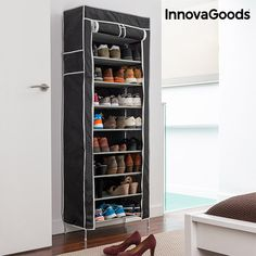 Portascarpe in Tessuto InnovaGoods (27 Paia) Shoe Organiser, Post Bank, Roll Up Doors, Fabric Structure, Steel Rod, Types Of Shoes, Shoe Rack, Sweet Home, Shelves