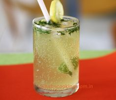 virgin mojito-10 fresh mint leaves  2 tbsp sugar  1 lemon  Ice cubes as desired  200 ml Sprite  Fresh mint leaves to garnish