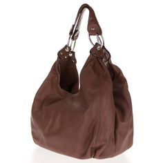 Cosette Italian Made Brown Soft Leather Slouchy Hobo Shoulder Bag