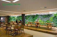 Green Fortune plantwall / vertical garden in restaurant, food retail. Tolhuistuin Amsterdam.