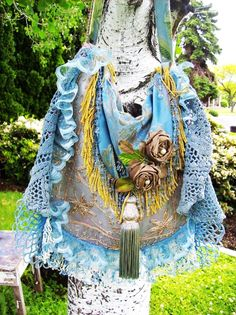Blue Bohemian Gypsy Hippie Shoulder Bag Silk Purse - LoveItSoMuch.com
