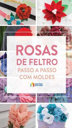 Veja rosas de feltro com moldes para fazer em casa. Você vai ver tutoriais de flores lindas com tecido e modelos para te ajudar nas confecções.
