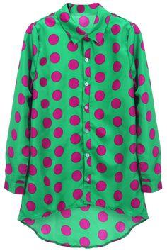 """Polka Dots"" Green Shirt #romwe"