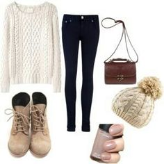 LOVE everything but the skinny jeans! BLAH! I have to be able to move (I have tried, u can give me that, lol)! Classic white sweater & nude polish. Love the piece's, SO chic!