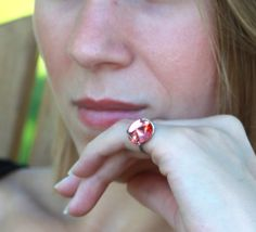 Handcrafted Swarovski Button Ring by TrinketsNWhatnots