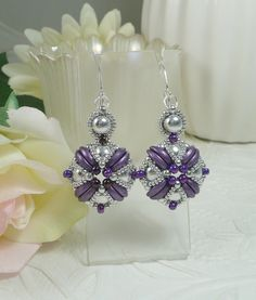 Woven Dangle Earrings Pendant Style Earrings Purple and Silver