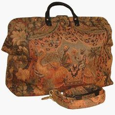 Elephant Adventure Tapestry Carpet Bag ~ Packed and ready for a big time, exotic adventure!