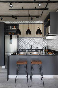 grey kitchen interior 45 Modern Kitchen Interior Ideas That Inspire Industrial Kitchen Design, Modern Kitchen Design, Interior Design Living Room, Small Modern Kitchens, Modern Kitchen Interiors, Home Decor Kitchen, Small Apartment Kitchen, Küchen Design, Home Design