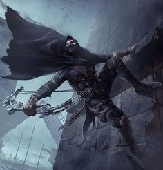 Garrett from Thief Fantasy Character Design, Character Concept, Character Inspiration, Character Art, Fantasy Armor, Dark Fantasy, Assasins Cred, Character Prompts, Rogue Assassin