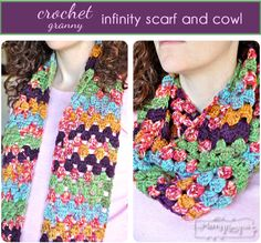 My Merry Messy Life: Crochet Granny Infinity Scarf and Cowl Free Pattern #crochet #freecrochetpattern #christmas