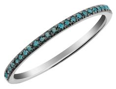 Radiant blue diamonds and 10 karat white gold give this ring a crisp and contemporary feel. Shining with 0.10 carats (ctw) of blue diamond gems, this sparkling band is cool and classy.