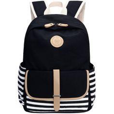 Bagerly Lightweight Canvas Laptop Bag Shoulder Daypack School Backpack... ($27) ❤ liked on Polyvore featuring bags, backpacks, canvas laptop bag, laptop rucksack, lightweight bags, canvas backpack and lightweight daypack