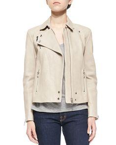 Lais Leather Zipper Moto Jacket & Darby Slub-Knit Tee by J Brand Ready to Wear at Bergdorf Goodman.