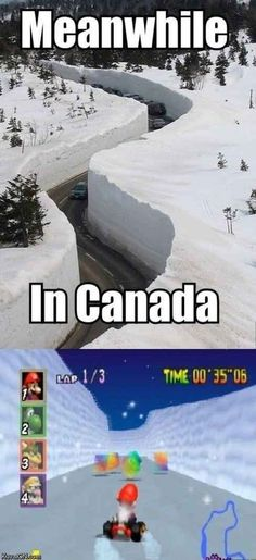 "A photo gallery of the best, greatest, and funniest snow memes of all time. These memes about snow will definitely make you say, ""Dude, Snow Way! Canada Funny, Canada Eh, Canada Jokes, Canada Snow, Meanwhile In Canada, Mario Bros, Funny Moments, Best Memes, Funniest Memes"