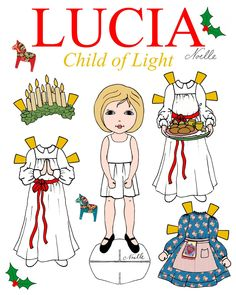 Lucia Lucia Child of Light Paper-Doll set Santa Lucia Santa Lucia, St Lucia Day, Swedish Christmas, Christmas Makes, Christmas Yarn, Scandinavian Christmas, Christmas Time, Christmas Ideas, Christmas Ornaments