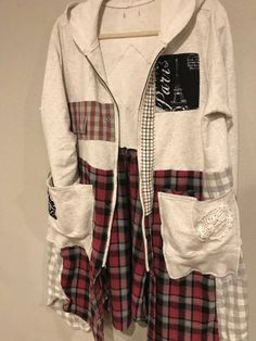 The Grace Art Jacket: Size med. Plaid Flannel, Flannel Shirt, Denim Duster, Grace Art, Old Sweater, Altering Clothes, Bohemian Look, Sustainable Clothing, T Shirt And Jeans