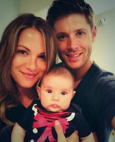 Danneel with Justice Jay as a baby and Jensen Ackles