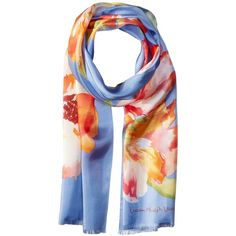 LAUREN Ralph Lauren Oana Silk Twill Scarf (Blue) ($45) ❤ liked on Polyvore featuring accessories, scarves, floral shawl, blue scarves, silk twill scarves, blue shawl and wrap shawl
