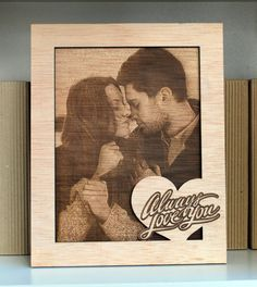 laser engraved photo on wood frame personalized by WoodYourDay