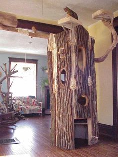 Natural Tree Furniture - Hollow Log Cat Trees - Bark and Limb designed per customer's request