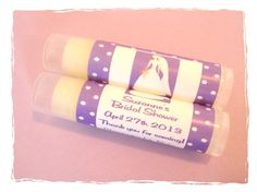 BRIDAL SHOWER Personalized Lavender Polka Dot Lip Balm Party Favors by MajesticSoaps, $1.00