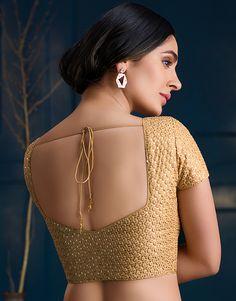 Golden Blouse Designs, New Saree Blouse Designs, Saree Jacket Designs, Salwar Neck Designs, Simple Blouse Designs, Stylish Blouse Design, Blouse Back Neck Designs, Dress Designs, Blouse Styles