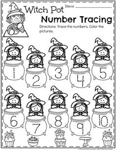 Preschool Number Worksheets for Halloween - Number Tracing Looking for fun Preschool Halloween Activities? This set of fun Hands-on Centers and Printables are the perfect addition to your Preschool Halloween Theme. Halloween Theme Preschool, Halloween Worksheets, Theme Halloween, Halloween Activities For Kids, Pre K Activities, Fall Preschool, Preschool Activities, Preschool Writing, Preschool Projects