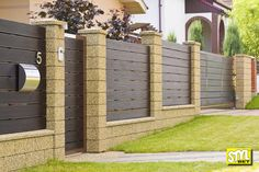 ogrodzenia-betonowe-409 Fence Wall Design, Front Gate Design, House Gate Design, Front Yard Fence, Brick Fence, Home Fencing, Fences, Boundry Wall, Compound Wall Design