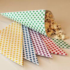 Paper Cone Bags-20 Nut and Popcorn Bags-Favor Bags-Treat Bags--Ice Cream Cone Jackets-Party Food Cone Bags-Carnival Circus Party-Peanut Bag by ThePartyFairy on Etsy https://www.etsy.com/listing/112312588/paper-cone-bags-20-nut-and-popcorn-bags