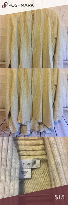 """Pure Jill J.Jill Beige Heavy Knit Cardigan Sz M This cardigan is beautiful. It has great detail and is a hi-low style. 35% Nylon, 35% Viscose and 30% Wool. It is 28"""" long and 23"""" from shoulder to sleeve. If you need additional measurements please let me know and I will get them to you quickly before purchasing. Offers always welcome! J. Jill Sweaters Cardigans"""
