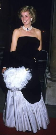 Princess Diana wore the gown in December 1985 to attend The Worshipful Company of Fan Makers Banquet at Mansion House.