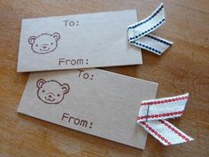 155.クマちゃんのリボン付きミニタグ | 簡単手作りカード Chocolate Card Factory