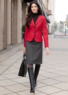 Red jacket and high black boots
