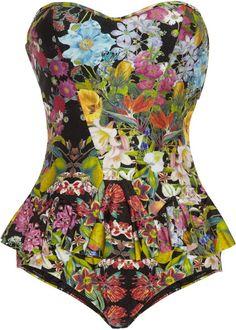 Flourishing Floralprint Bandeau Swimsuit - Lyst