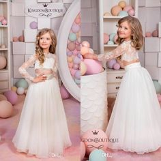 Kingdom Boutique Two Pieces Flower Girls Dresses Cheap Cute Sheer Crew Neck Long Sleeves Lace Bodice Lovely Kids Formal Wear Long Baby Party Dresses Childrens Bridesmaid Dresses From Glamorousqueen, $72.13| Dhgate.Com
