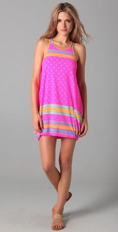 Marc by Marc Jacobs Cleo Print Racer Back Bubble Cover Up Dress - Love the color, love the print