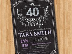 40th Birthday Invitation for Woman. Pink Purple or Any by arthomer, $10.00