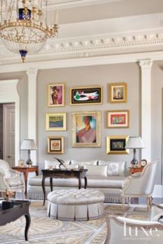 An #ornate Federal Style Houston Home's Gray #traditional European #livingroom with #modern Artwork. | See MORE at www.luxesource.com. | #luxemag #interiordesign #design #interiors #homedecor