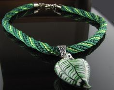 Green Kumihimo Necklace with Heart Pendant by Luckysammy on Etsy, $45.00