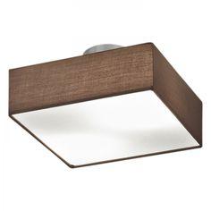Lampada da soffitto Shima IV - Tessuto/Metallo - 2 luci - Marrone / Bianco