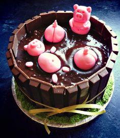 DIY Birthday Cakes Using Kit Kats (Chocolate Bars) - Pigs in mud