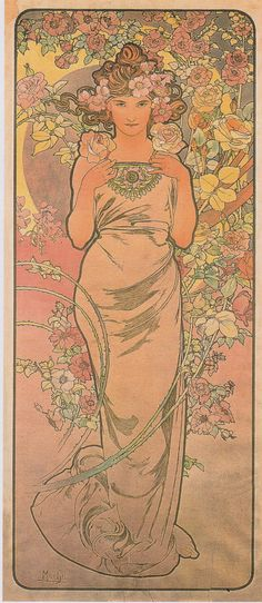 "Alphonse Mucha. ""The Rose"". The seasons (1896). Art Nouveau. Allegorical painting. Lithography."