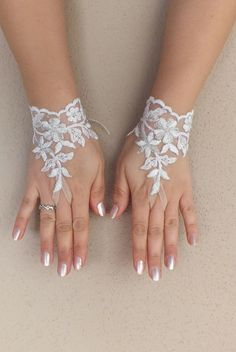 Free ship white silver frame Wedding gloves by ByMiracleBridal